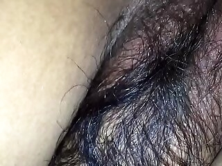 Hairy wife in black bra & tight asshole enjoying doggy style with cut corners friend